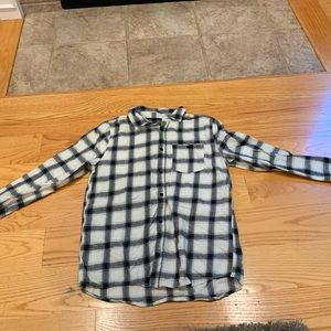 Trendy Plaid Flannel (Black, White, Cream).